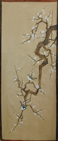 arbre au printemps, acrylique